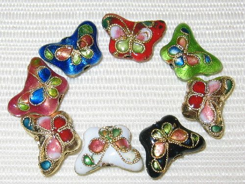 Filigree Cloisonne (50 New 10x15mm Butterfly Mix Filigree Cloisonne Beads)