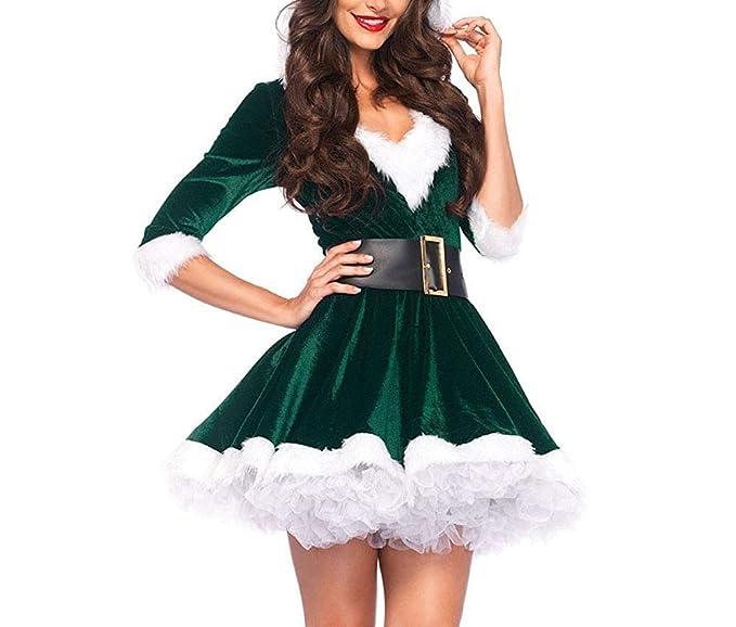 Disfraz Fever de Mamá Noel, Disfraz de Navidad Mujer Vestido Rojo de Terciopelo Princesa Traje de Santa Mamá Noel Fiesta Chicas Cosplay Christmas Ropa ...