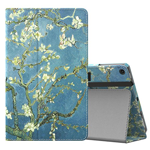 MoKo Case for All-New Amazon Fire HD 10 Tablet (7th Generation and 9th Generation, 2017 and 2019 Release) - Slim Folding Stand Cover with Auto Wake/Sleep for 10.1 Inch Tablet, Almond Blossom