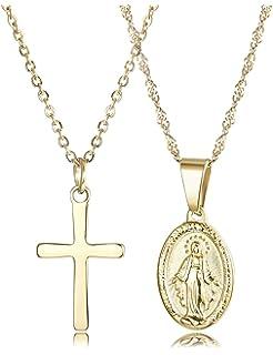 c3b983a892f7 Finrezio 2 Piezas 14K Chapado en Oro Acero Inoxidable Joyería Católica  Cristiana Cruz y Virgen Maria Collar Colgante…
