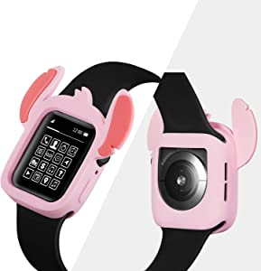 Yu Store Lovely Cartoon Stitch Cover Compatible with Apple Watch Series 4/5, Soft Silicone Protector Bumper Frame Protective Double Color Case for iWatch Series 4/5 40mm 44mm Girls Boys (Pink, 40MM)