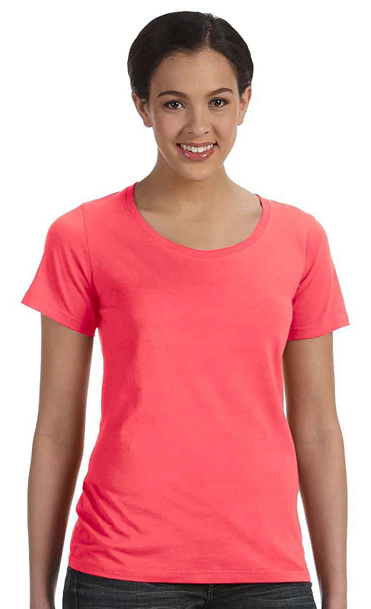 471a424e5214 Anvil 391 Ladies' Sheer Scoop-Neck Tee at Amazon Women's Clothing store: