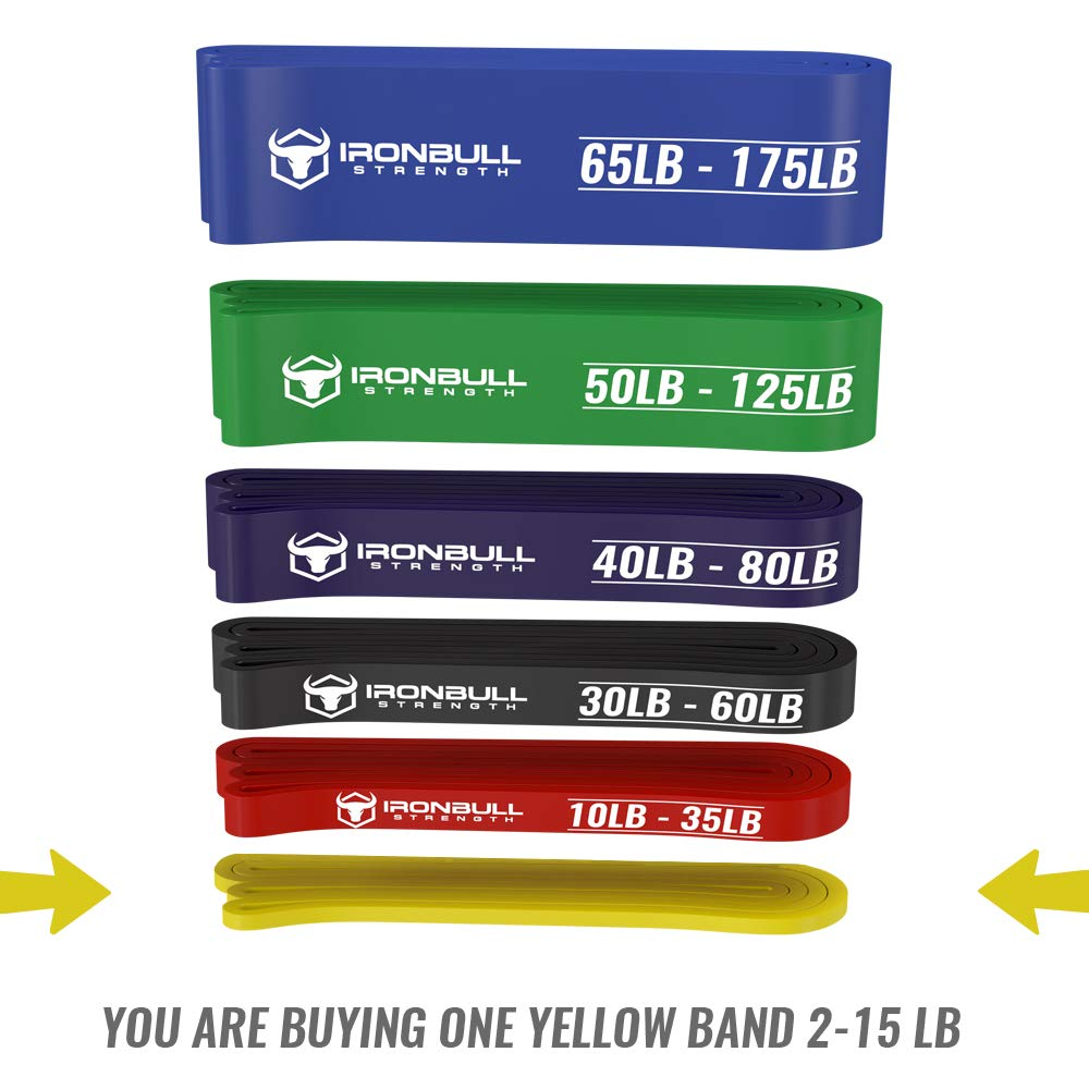 Pull Up Assist Band, Premium Stretch Resistance Bands - Mobility Bands - Powerlifting Bands - Extra Durable and Heavy Duty Pull-Up Bands - Works with Any Pullup Station (#0 Yellow - 2 to 15 lb) by Iron Bull Strength (Image #3)