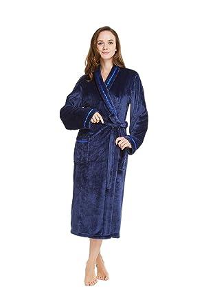 6cfa340c69 TIMSOPHIA Soft Dressing Gown with Satin Trim - Luxury Warm Womens Robe Plush