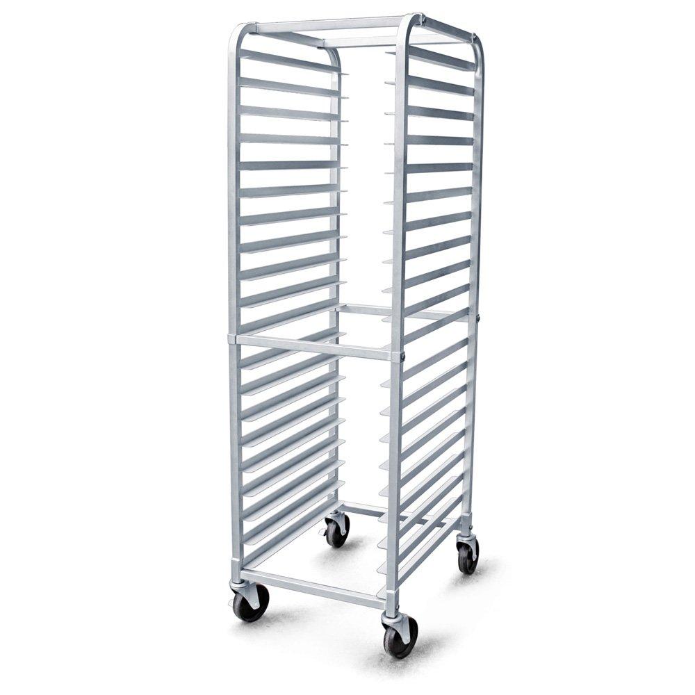 New Star Foodservice 36527 Commercial-Grade Aluminum 20-Tier Sheet Pan/Bun Pan Rack, 26'' L x 20'' W x 69'' H with Brake Wheels by New Star Foodservice