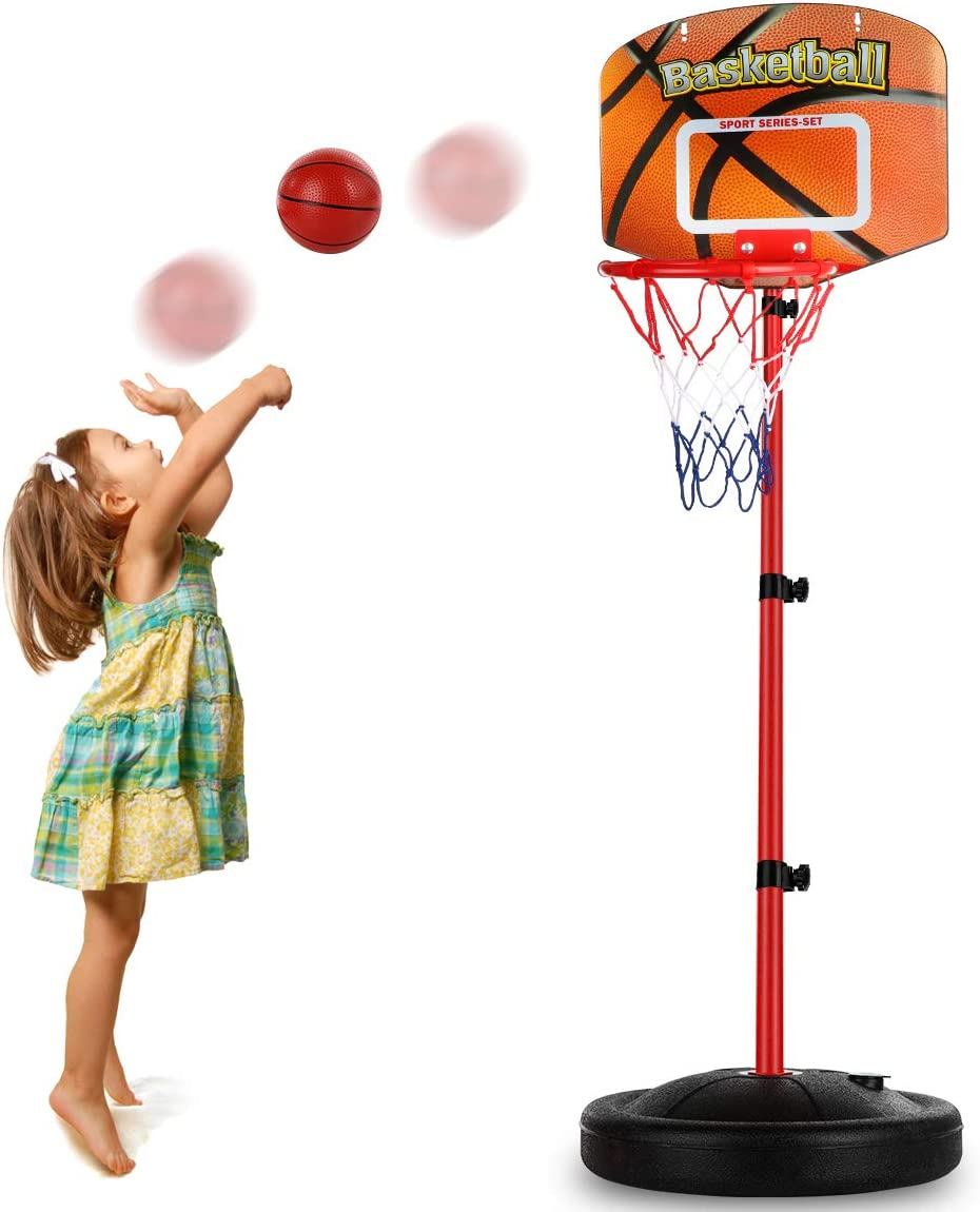 Toddler Basketball Hoop Stand Adjustable Height 2.5 ft -5.1 ft Mini Indoor Basketball Goal Toy with Ball Pump for Baby Kids Boys Girls Outdoor Play Sport for Age 2 3 4 5 6 Years Old