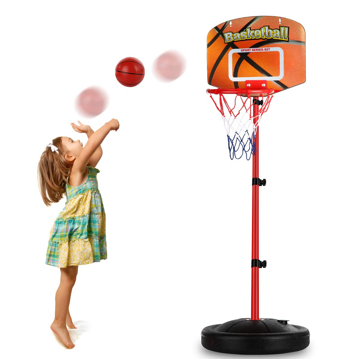 Toddler Basketball Hoop Stand Adjustable Height 2.5 ft -5.1 ft Mini Indoor Basketball Goal Toy with Ball Pump for Baby Kids Boys Girls Outdoor Play Sport Age 2 3 4 5 6 Years Old by Auggie
