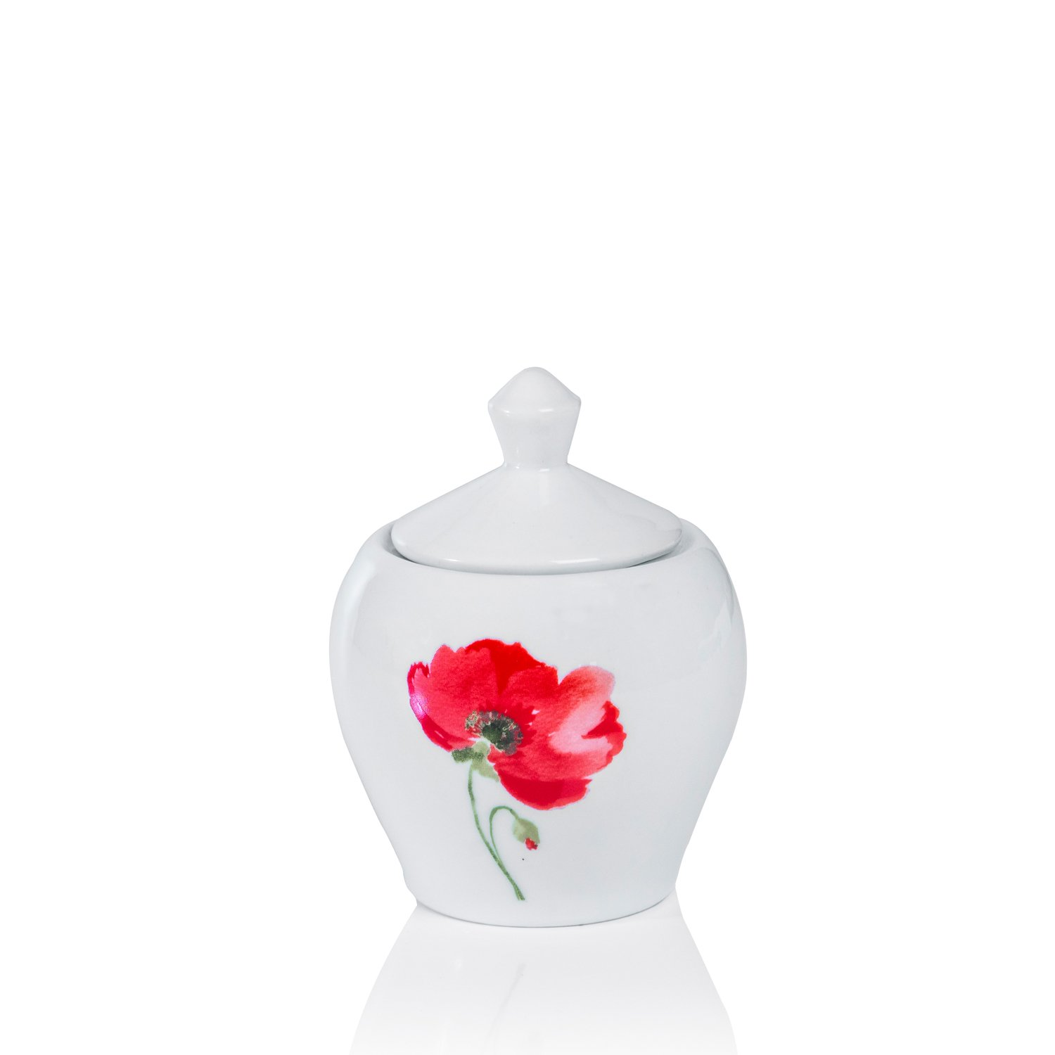 Sabichi Poppy Sugar Bowl, Porcelain, Red, 8.5 x 8.5 x 10 cm 181107