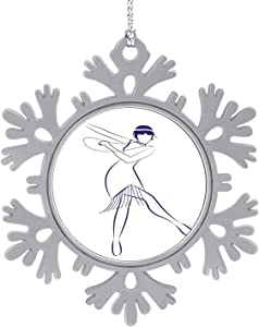 C COABALLA Flapper Wearing s Clothes and Long Necklaces Dancing Charleston,Cute 2020 Home Décor Hanging Snowflake Decorations Ornament Ink line Drawing on White - 1PCS