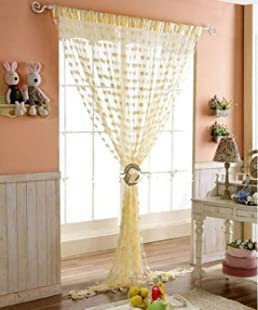 Geo Nature Polyester Eyelet Door Curtain (7 feet, Beige)