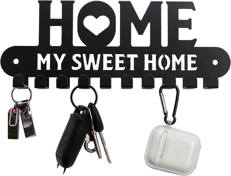 Black Metal Key Holder Hooks Sweet Home Wall Hanger Decor for Front Door Kitchen Garage Ready to Hang, 10 Hook Racks