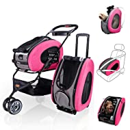 ibiyaya 5 in 1 Pet Carrier + Backpack + CarSeat + Pet Carrier Stroller + Carriers with Wheels for Dogs and Cats All in ONE
