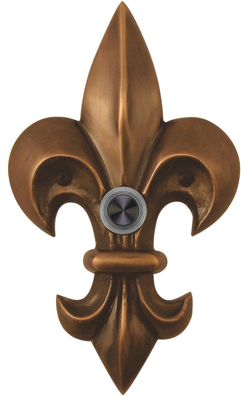Waterwood Solid Brass Large Fleur De Lis Doorbell in Oil Rubbed Bronze