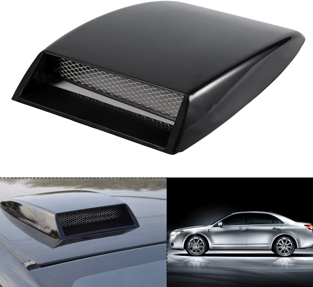 KIMISS Universal Car Decorative Air Flow Intake Turbo Bonnet Vent Grille Scoop Cover Sticker Hood Black