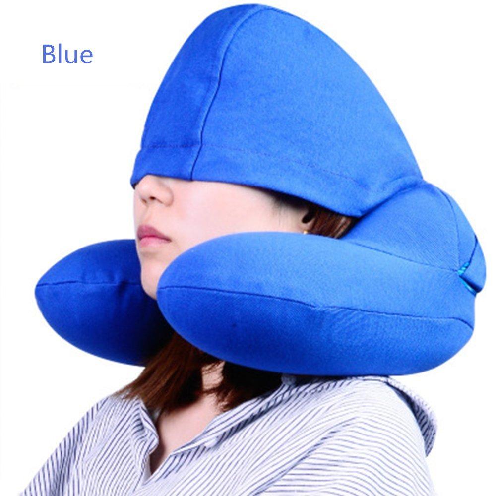 Allisenインフレータブルu-pillow with Hidden帽子旅行、オフィス、ホーム ブルー B0742DLJJ4  ブルー