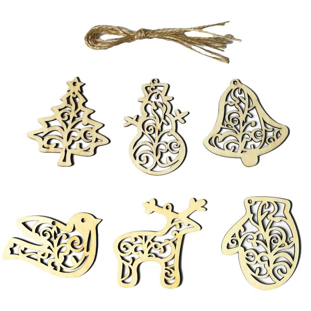 MatureGirl DIY Christmas Ornaments Decor Supplies, 6Pcs Wooden Christmas Tree Pendant Xmas Wedding Tree Hanging Ornament Decor (Ornaments, 6PCS)