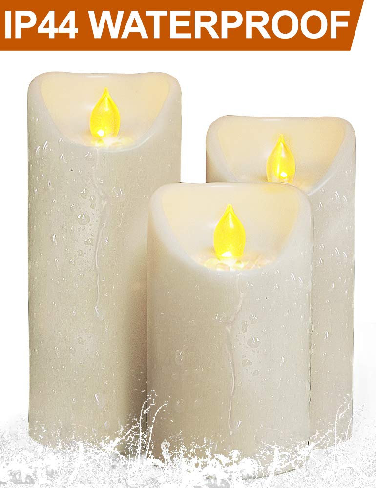 HOME MOST Set of 3 LED Pillar Candles Battery Operated (IVORY, 5''/6''/7'' Tall, Oblique Edge)- Flameless Candles Timer Outdoor Candles Waterproof - Electric Candles Battery Operated Plastic Candles Bulk
