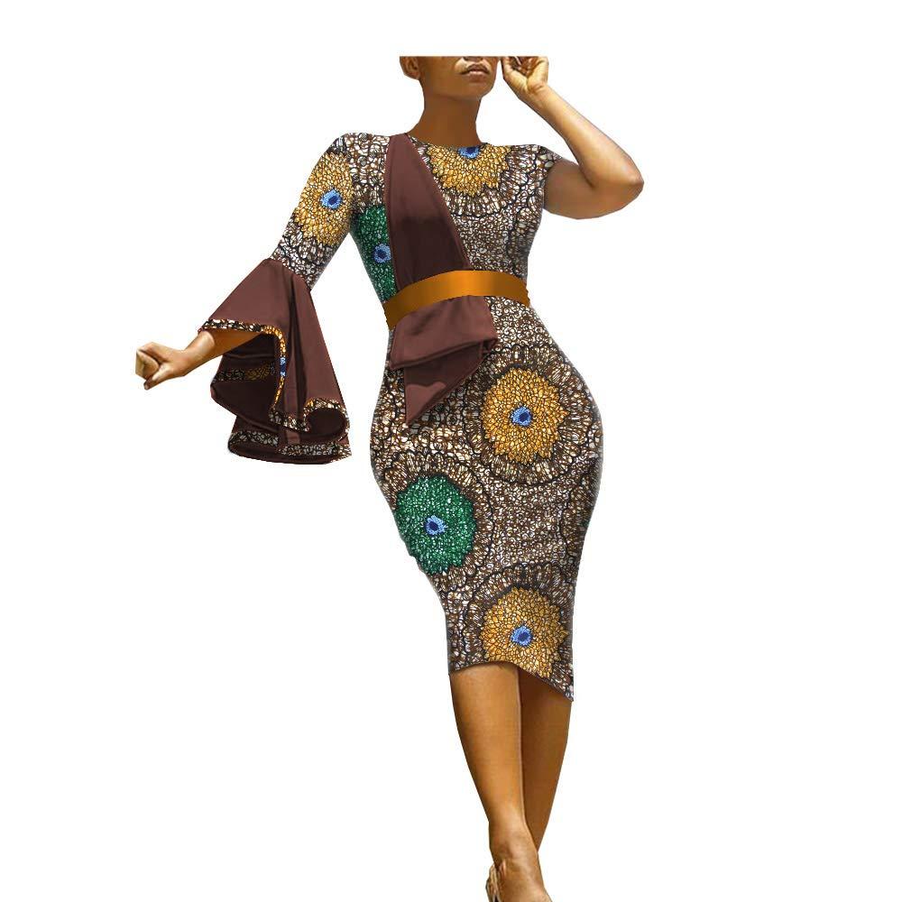 3208j African Ankara Print Women Dress Sashes Single Flare Sleeve Knee Length 100% Batik Cotton Made AA1825089A