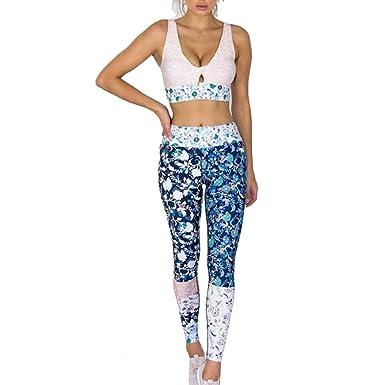 Yefree Tenue des Femmes Ensemble 2 Pcs Yoga Élasticité Fitness Costumes  Sport Soutien-Gorge Maillot Long Leggings Vêtements Ensemble Sportswear  Survêtement ... 34f86284adf