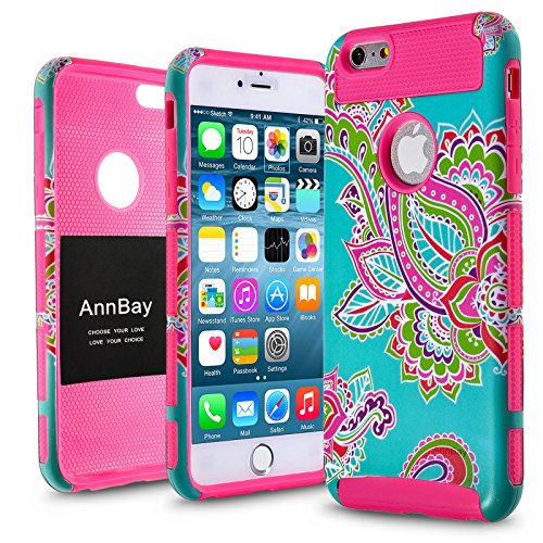 iPhone 6/6s Case,AnnBay Drop Protection Soft TPU Armor Slim Shock Resistant High Impact Hard Hybrid Dual Layer Heavy Duty Case Armor Cover Case with Totem Flower Pattern for iPhone 6/6s (Hot Pink) (Pink Flowers Cover)