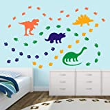 Creative Dinosaur Wall Decals, DIY Adorable Animal Dinosaur Footprints Wall Sticker for Kids Room Classroom Decoration, Orang