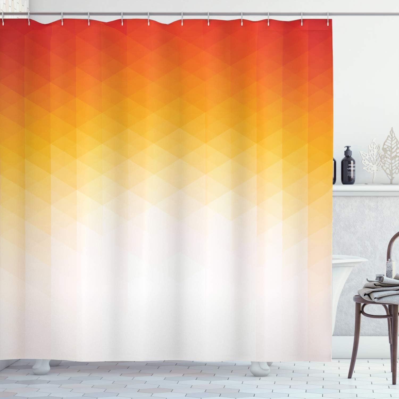 Ambesonne Geometric Shower Curtain, Ombre Geometric Triangle Shape by Digital Gradient Modern Retro Style, Cloth Fabric Bathroom Decor Set with Hooks, 70