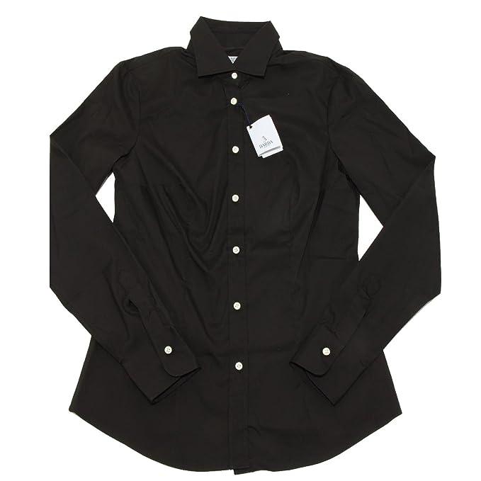 0148G camicia nero BARBA SLIM MANICA LUNGA camicie donna shirt women [42]: Amazon.es: Ropa y accesorios