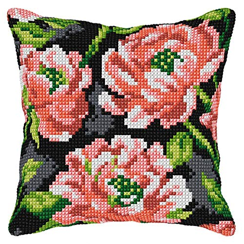 Orchidea Pink Flowers II Pillow Cover Needlepoint Kit