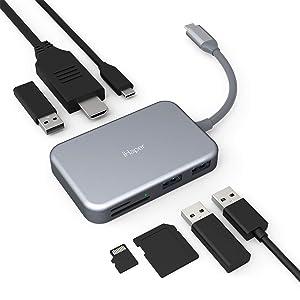 iHaper Hub USB C 7 en 1, Adaptador Type C HDMI Aluminio con 4K Ultra HD,60W USB C Power Delivery,...
