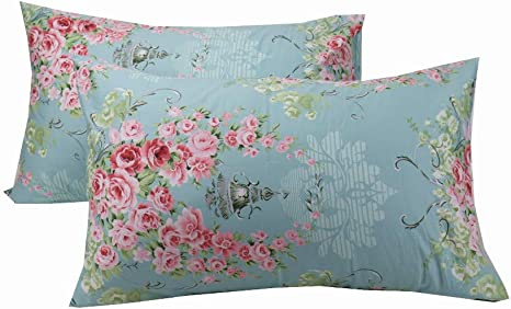Amazon Com Yih Floral Pillowcase Covers Decorative Blue 600 Thread Count 100 Cotton Standard Luxury Bedding Pillow Covers 20 X 30 Inches Home Kitchen