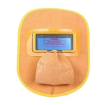 Hamkaw Careta Soldar Cuero Automática, Casco Soldadura Automatico, Oscurecimiento Automático y Doble Filtro,