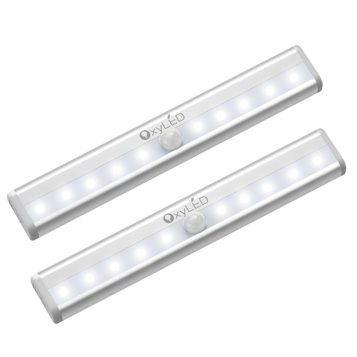 OxyLED Motion Sensor Lights, Cordless Closet Light Under Cabinet Lightening, Stick-on Wireless Wardrobe Light, Battery Operated 10 LED Night Light Bar, Safe Lights for Stairs, Bed, 2 Pack by OxyLED
