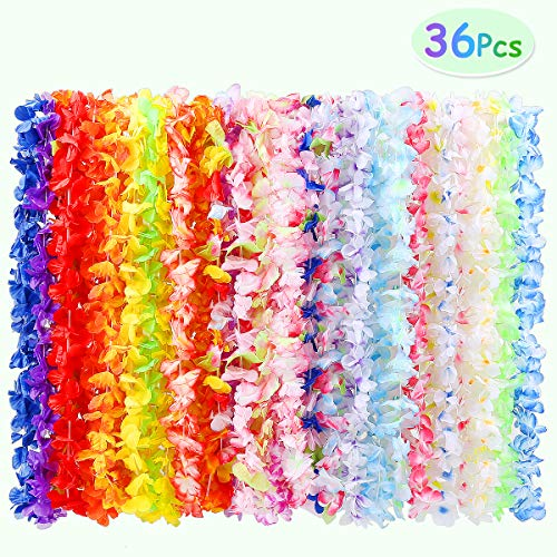 - 36 Pack Hawaiian Leis, Tropical Hawaiian Luau Flower Lei Party Supplies 3 Dozen with Multicolor and Vibrant Floral Design for Theme Party Event Decorations by WEfun
