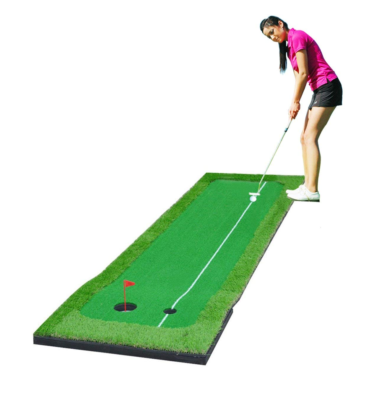 77tech Large Artificial Grass Golf Putting Green Mat Indoor/Outdoor Golf Training Aid Equipment Mat (2.5'x10' with Base) by 77tech