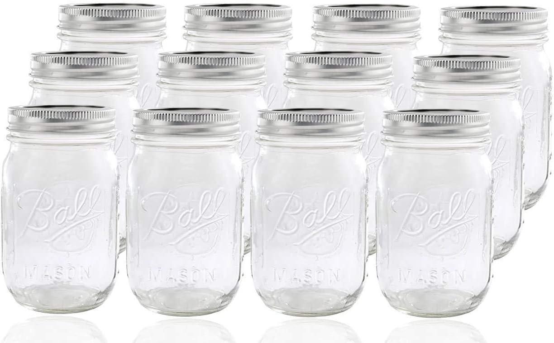Ball Glass Mason Jar with Lid and Band, Regular Mouth, 12 Jars New version