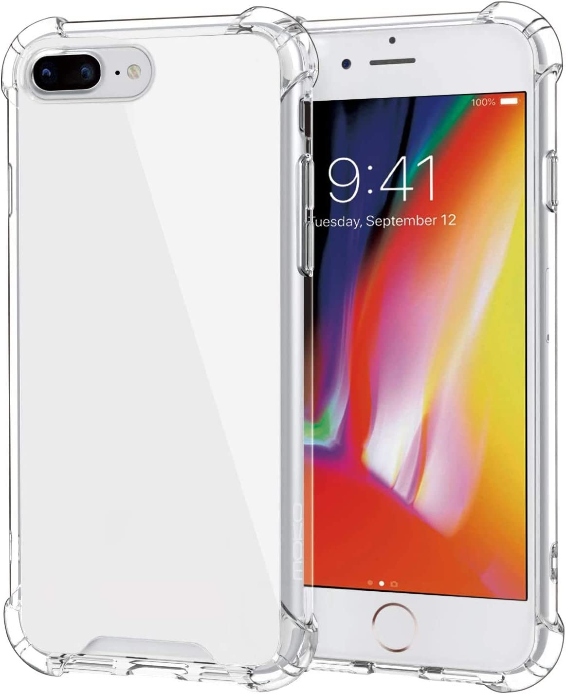 MoKo Cover Compatible for iPhone 7 Plus Case/iPhone 8 Plus Case, Reinforced Corners TPU Bumper Cushion + Hybrid Rugged Transparent Panel Cover for Apple iPhone 7 Plus / 10 Plus - Crystal Clear