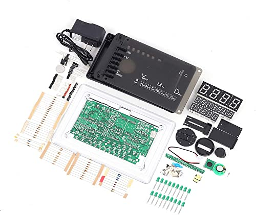 Digital Electronic Clock Kit, ECL-1227 Chip Alarm Clock Kit Soldering Practice Learning Kits Electronic Soldering Clock Kits DIY LED Electronic Clock Green
