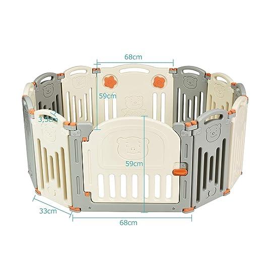 Krabbelgitter Faltbar COSTWAY Laufgitter Laufstall Baby Beige//12 Stk. Schutzgitter mit T/ür und Spielzeugboard Absperrgitter aus Kunststoff Spielzaun f/ür Kinder