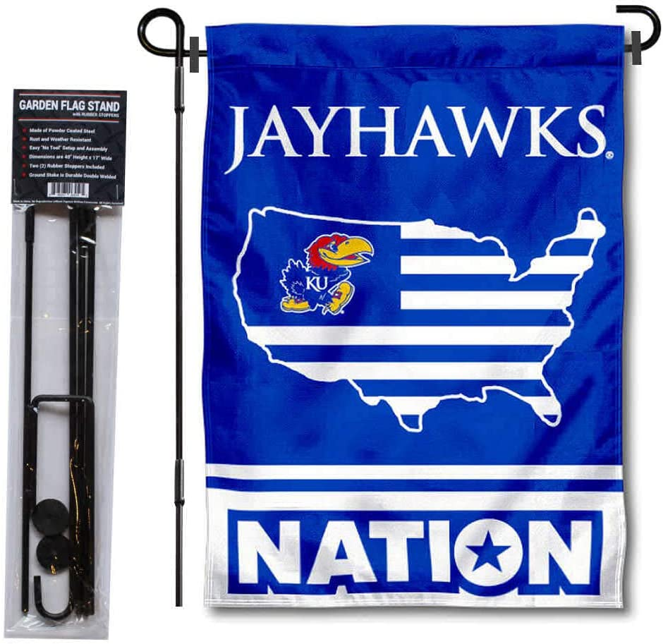 College Flags & Banners Co. Kansas Jayhawks Garden Flag with USA Country Stars and Stripes and USA Flag Stand Pole Holder Set
