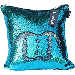 Livedeal 40x40cm Sequins Mermaid Reversible Pillow Case, Light Blue and Silver