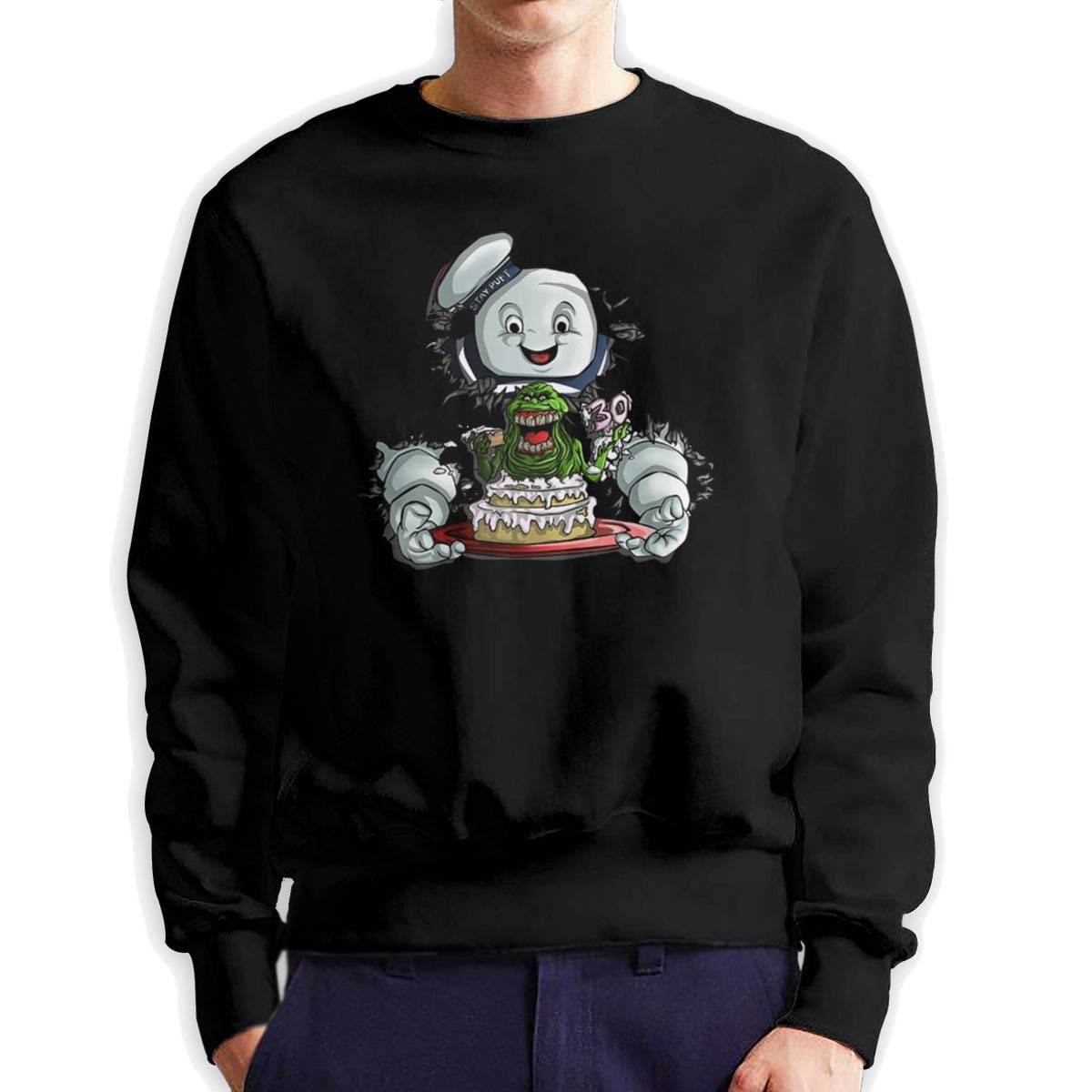 Obagaty Ghostbusters Stay Puft Mens Cotton Crew Neck Sportswear Black
