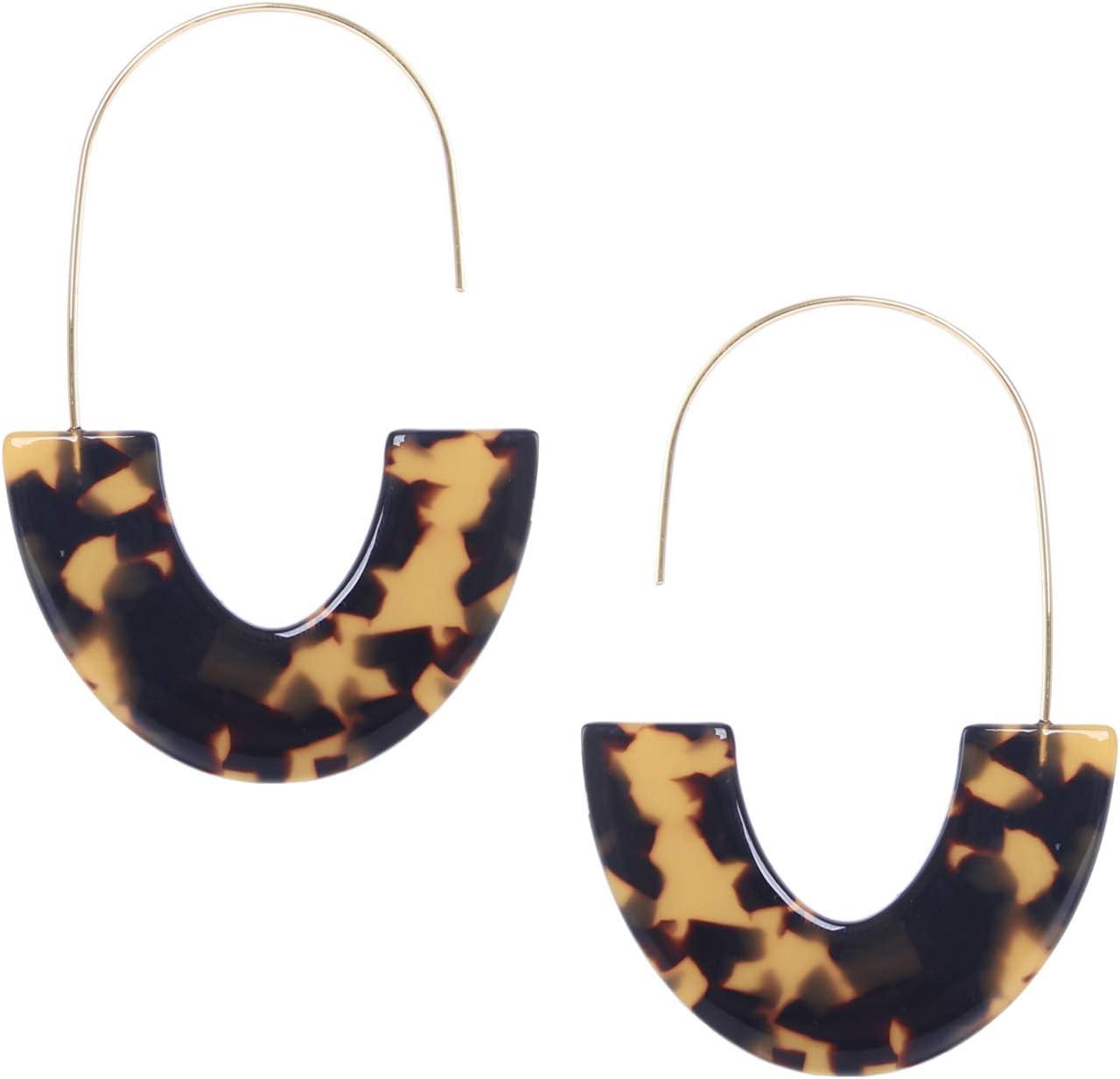 Ouinne 2 Paires Leopard Marbr/é Boucles doreilles Boh/ème R/ésine Acrylique Hoops Boucles doreilles pour Femmes