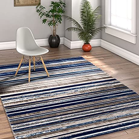 Riviera Stripe Blue Beige Vintage Modern Geometric Abstract Shabby Chic 4x6 3 11 X 5 7 Area Rug Neutral Thick Soft Plush Shed Free