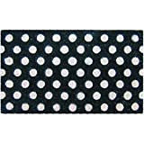 Entryways White Polka Dots Handmade, Hand-Stenciled, All-Natural Coconut Fiber Coir Doormat 18'' X 30'' x .75''