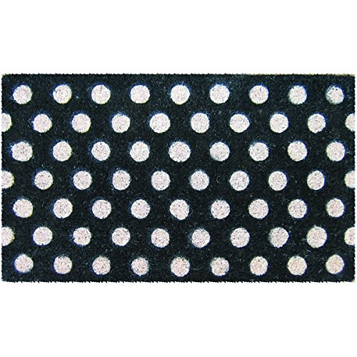Entryways White Polka Dots Handmade, Hand-Stenciled, All-Natural Coconut Fiber Coir Doormat 18
