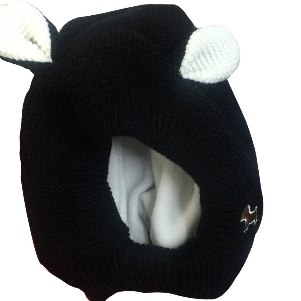 559e946d3 Dog Ears Woolen Knitted Hooded Scarf Earflap Knitted Hat Infant Baby ...