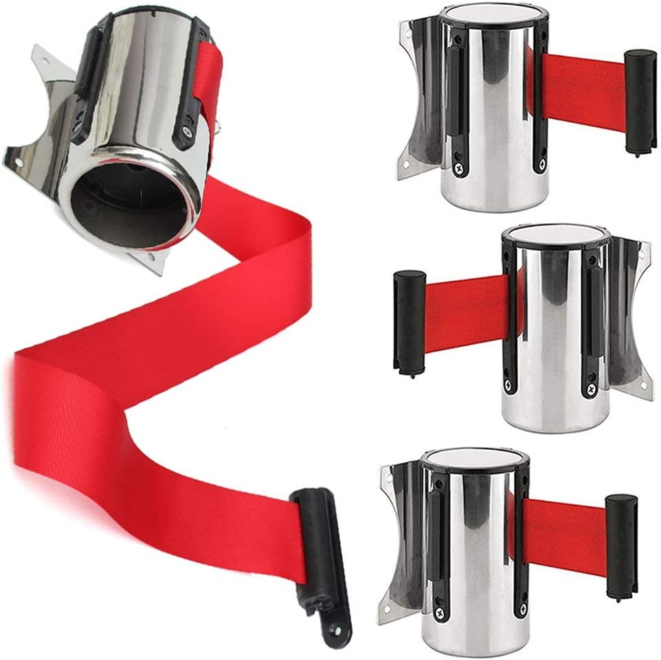 2//5M Wall Mounted Safety//Security Barrier Belt Stainless Steel Security Retractable Red Ribbon Barrier for Stanchion Queue Queue Barrier Belt