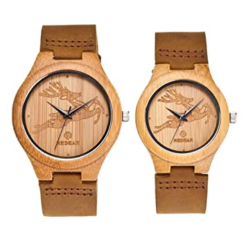 Relojes para Parejas Reloj De Madera De Cuarzo Reloj De Pulsera De Madera con Correa De Cuero Patrón De Mujer: Amazon.es: Deportes y aire libre