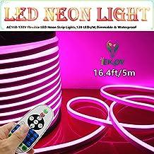 LED NEON LIGHT, IEKOV™ AC 110-120V Flexible LED Neon Strip Lights, 120 LEDs/M, Waterproof 2835 SMD LED Rope Light + Controller Power Cord for Home Decoration (16.4ft/5m, Pink)