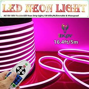 led neon light iekov ac 110 120v flexible led neon strip lights 120 leds m. Black Bedroom Furniture Sets. Home Design Ideas